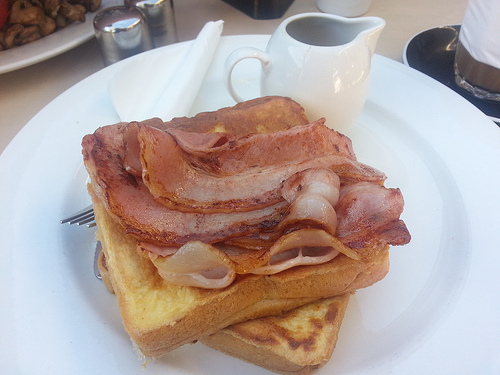 Chaddies french toast with bacon