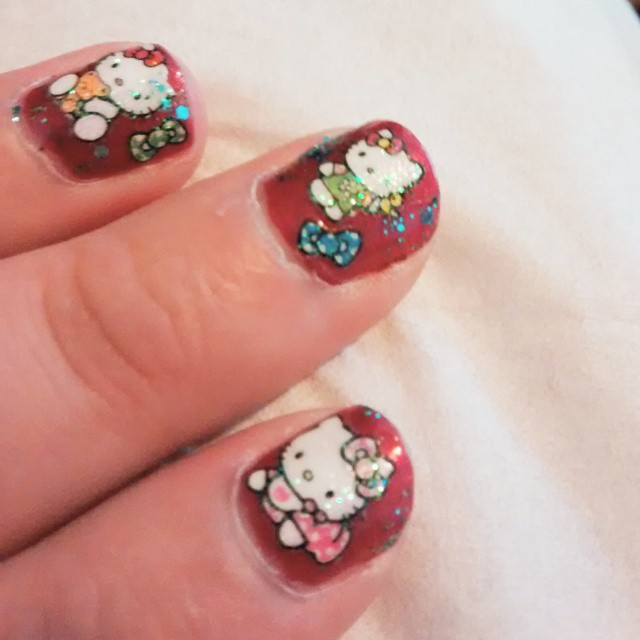 #red #shakecreative #HelloKitty #nailart #nailstickers