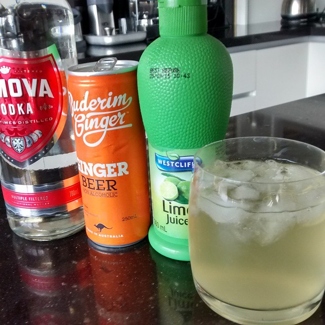 Refreshing! Moscow mule with Aldi vodka and lime juice and Buderim ginger beer. #goginger
