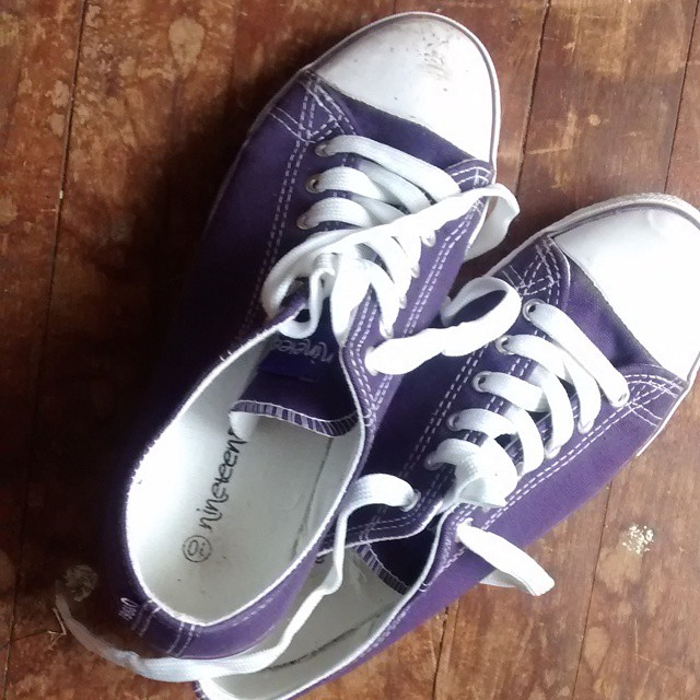 Purple sneakers $5 well spent :)