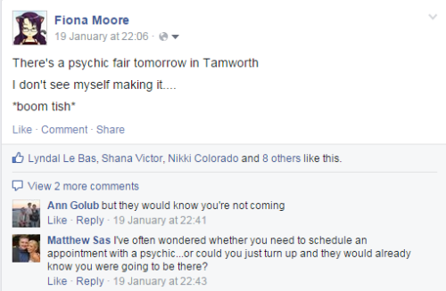 Theres a psychic fair in tamworth I dont see myself making it
