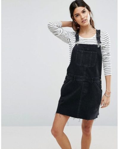 ASOS black overall dress