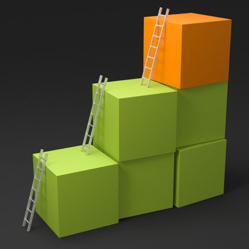 Career ladder block analogy