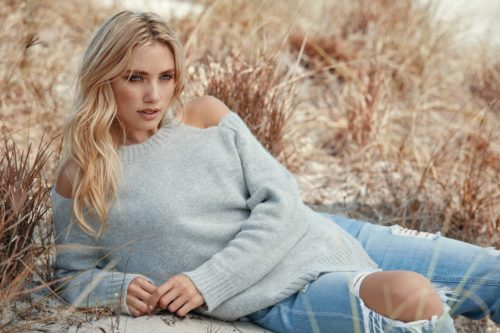 blonde in off shoulder sweater