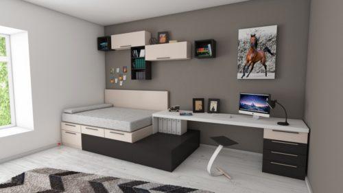 grey studio apartment bedroom