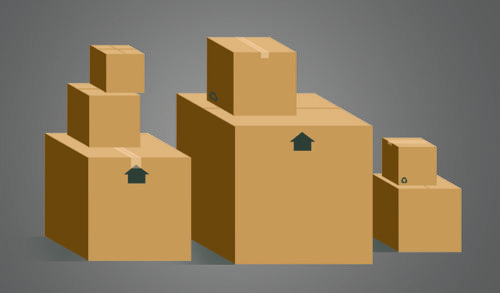 drawing of cardboard boxes