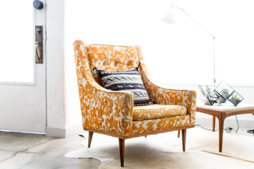 patterned chair and cushion