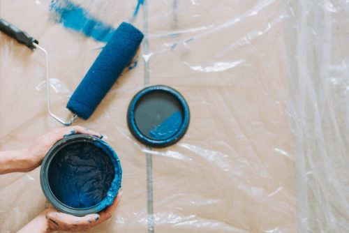 tin blue paint and roller