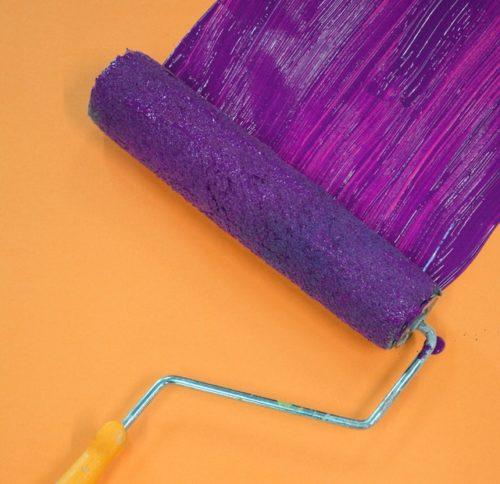 purple paint on roller